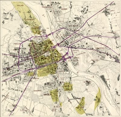 A map of Warsaw.